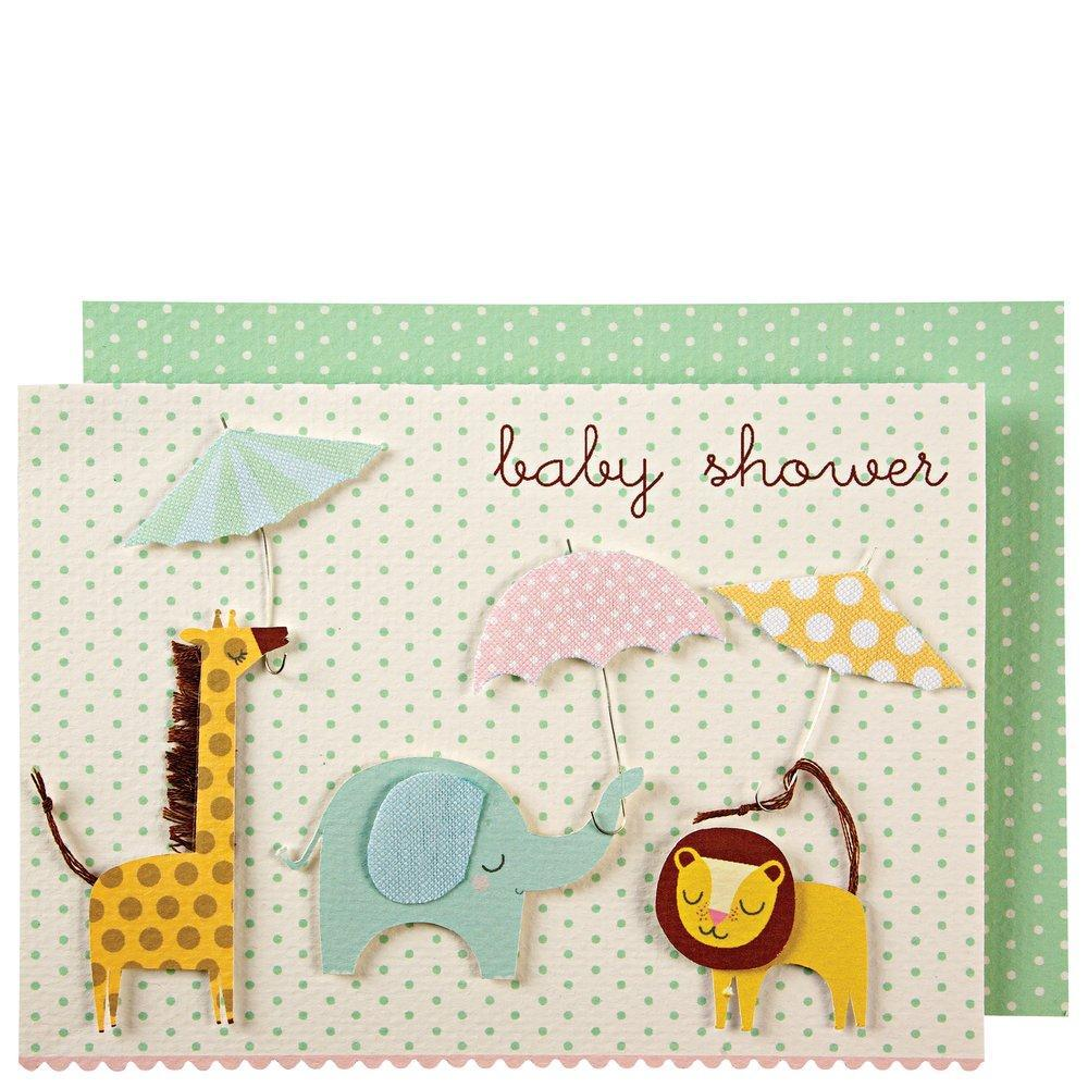 Meri Meri Animals With Umbrellas Baby Shower Card