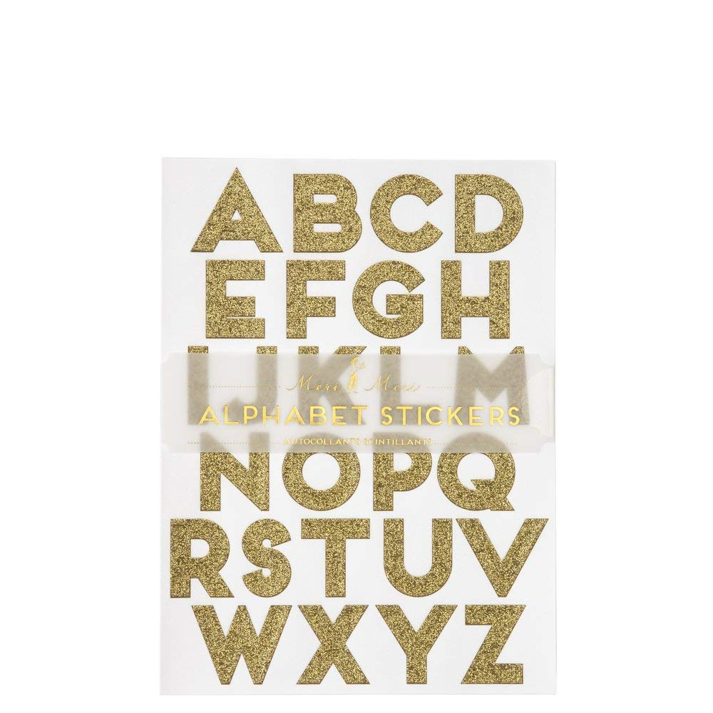 Meri Meri Gold Glitter Alphabet Stickers