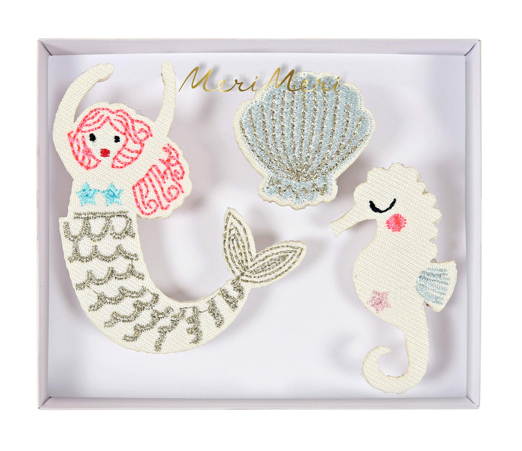 Meri Meri Embroidered Mermaid Brooches