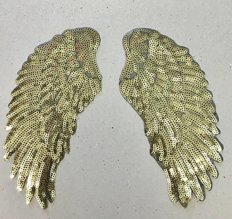 Petra Boase Iron On Patch Set Of 2 Gold Sequin Wings Small