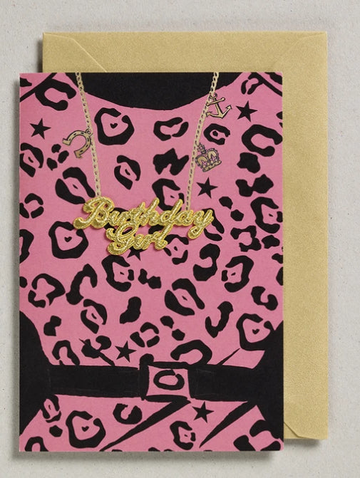 Petra Boase Gold Word Card Birthday Girl Pink Leopard Print