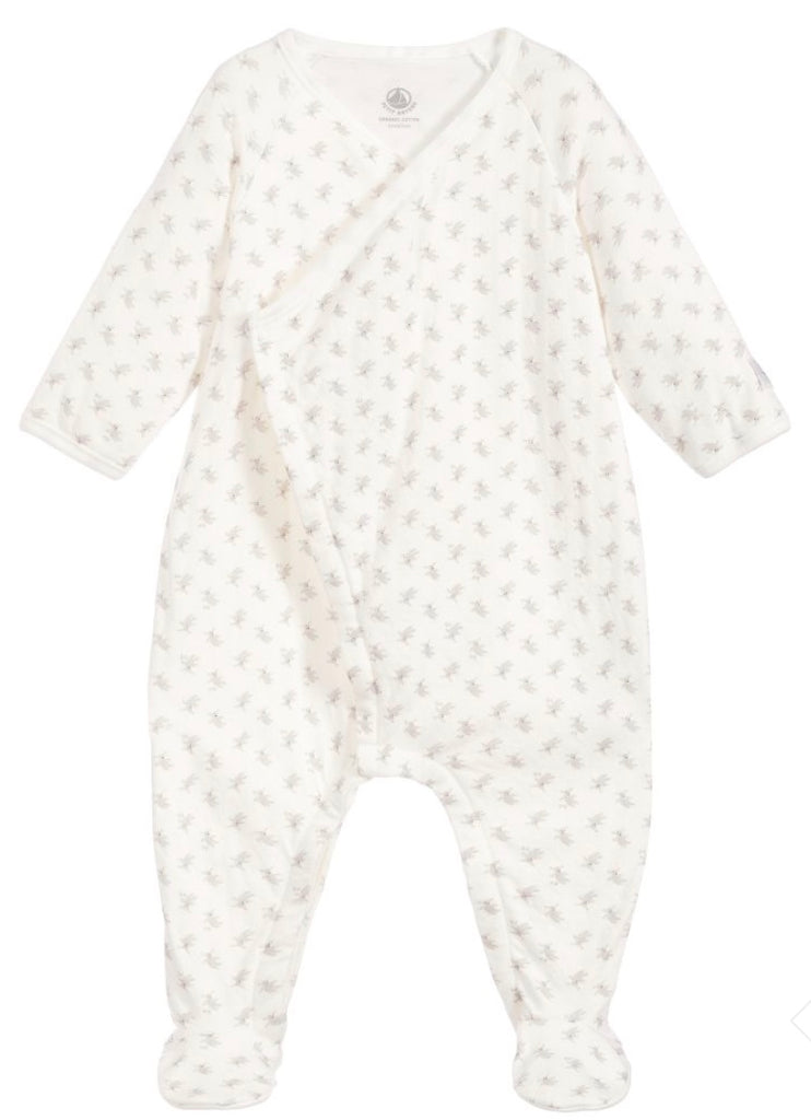 Petit Bateau Ivory And Grey Rabbit Babygrow