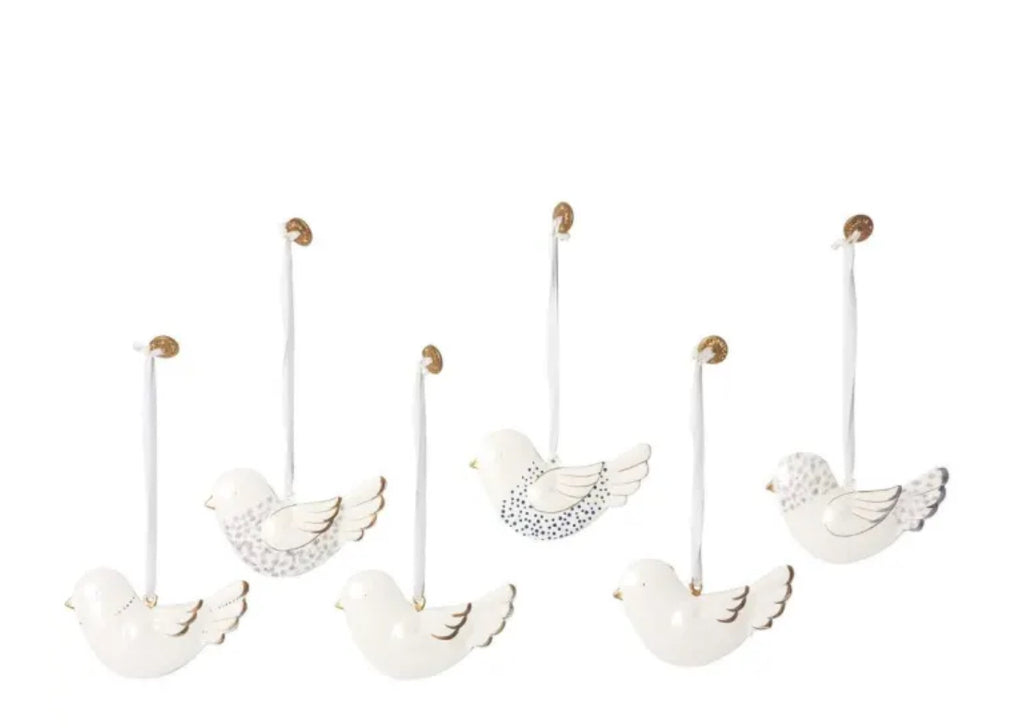 Maileg Set of Six Metal Bird Decorations in a Box