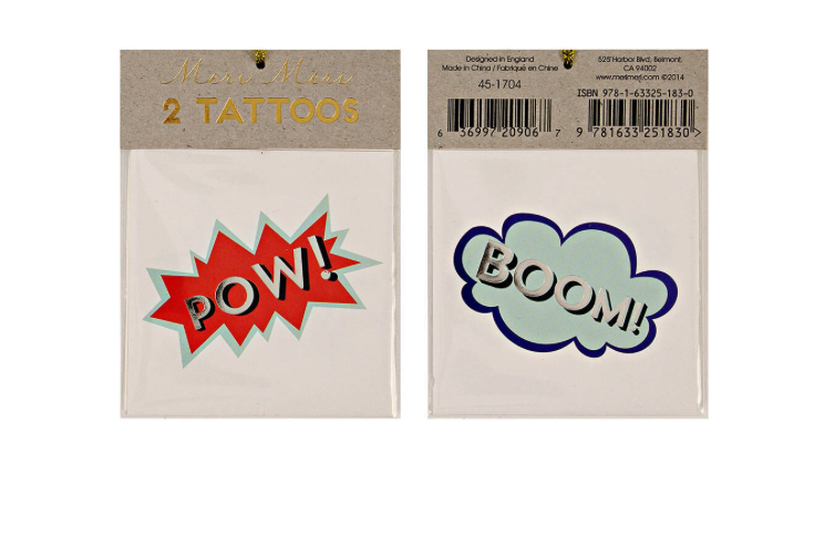 Meri Meri Boom And Pow Tattoos