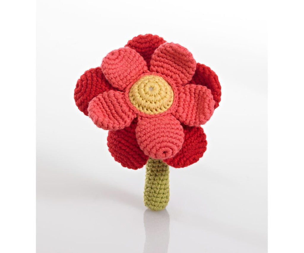 Fair Trade Pebble Red Flower Cotton Rattle