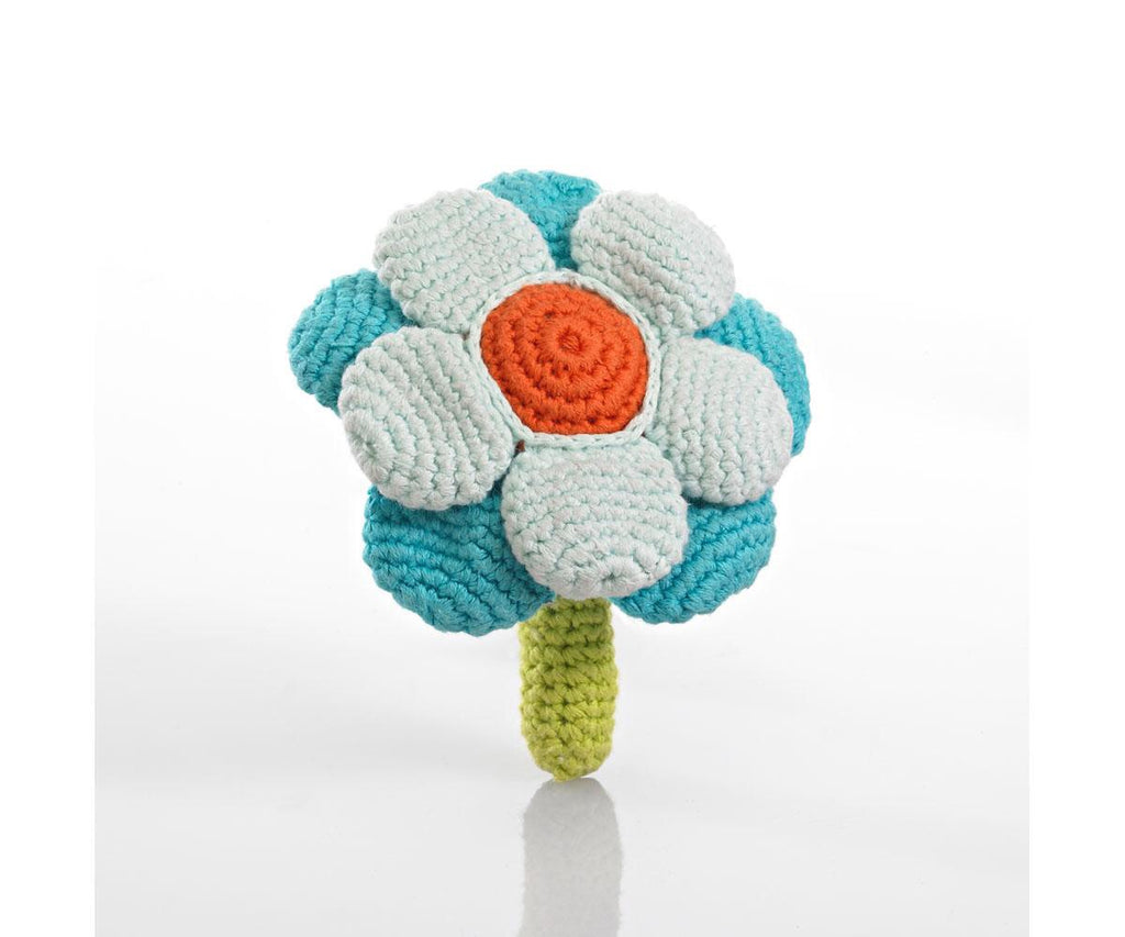 Fair Trade Pebble Turquoise Flower Rattle