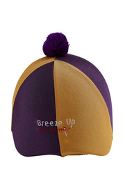 Helmet cover with Breeze Up logo (purple/gold)