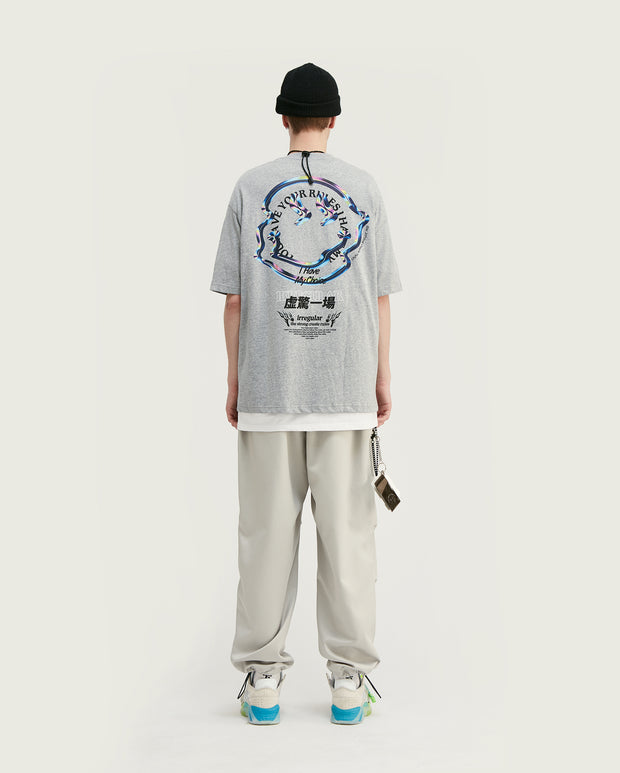 t-shirt oversize smiley gris