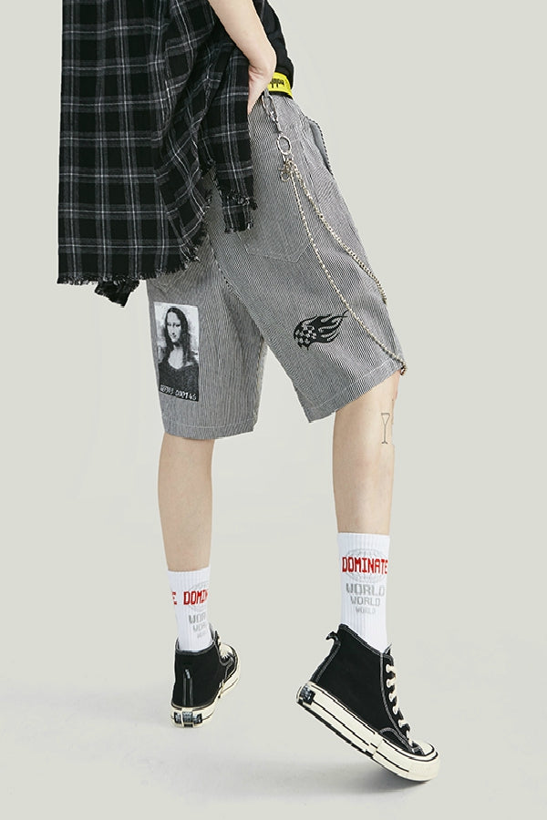 Short patchwork - Gris - Boutique Streetwear