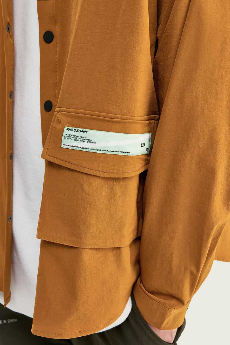 Chemise à col grand-père | Orange - Boutique Streetwear
