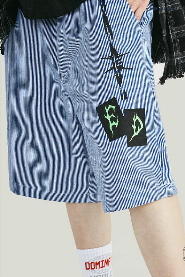 Short patchwork - Bleu - Boutique Streetwear