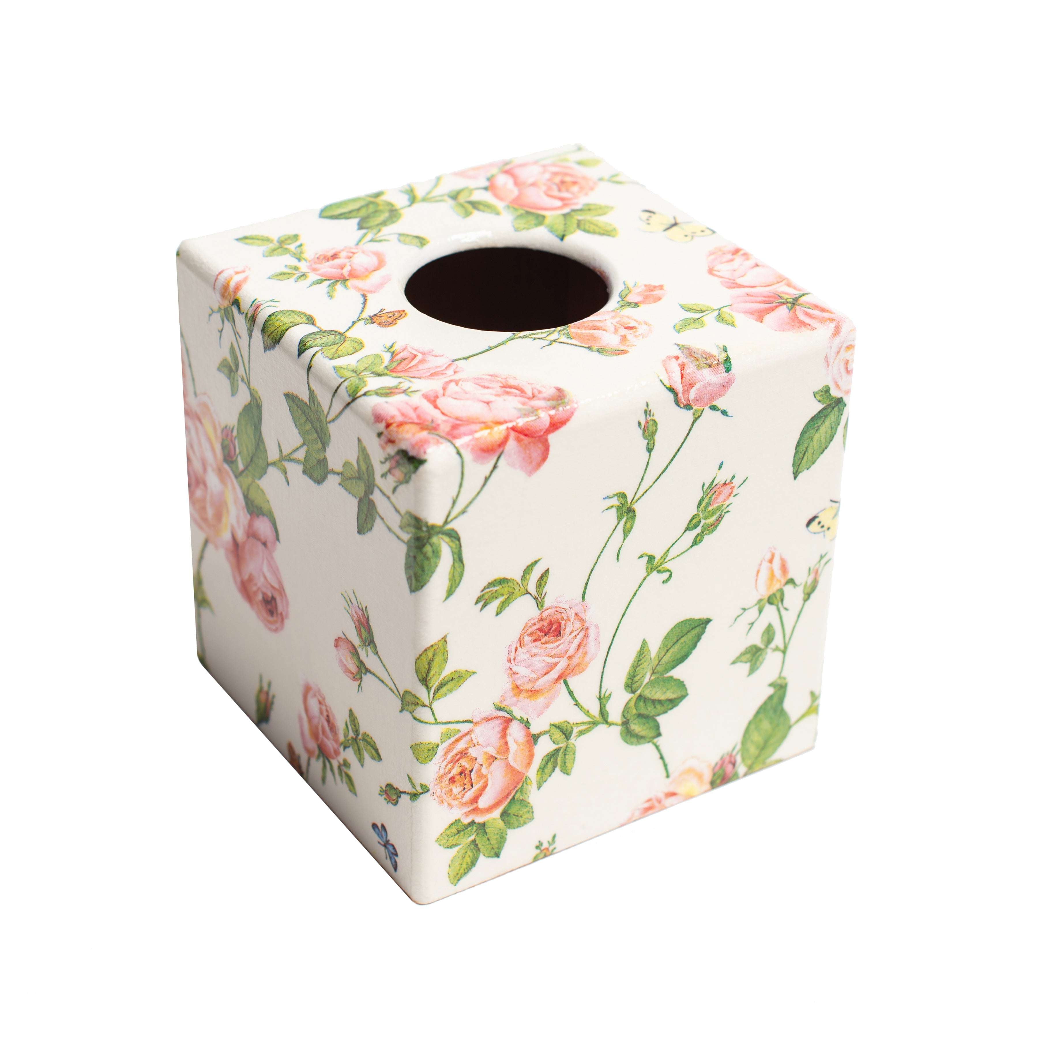 Pink Flower wooden Tissue Box Cover