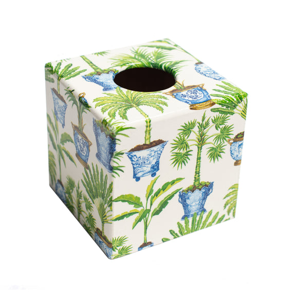Potted Palm Tissue Box Cover - Handmade