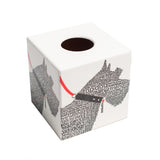 White & Black Tissue Box Cover - Scotty Dog