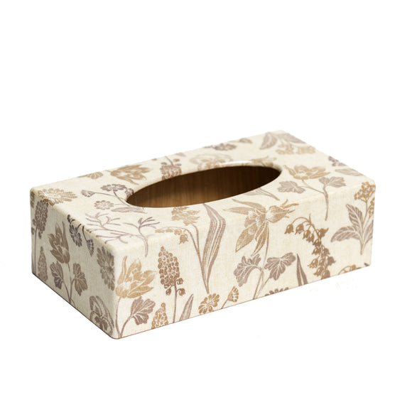 Linen design wooden rectangular tissue box cover