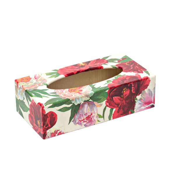 Red Peony rectangular tissue box cover