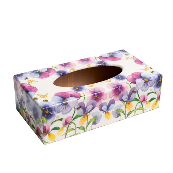 Pansy Flowers Rectangular Tissue Box Cover