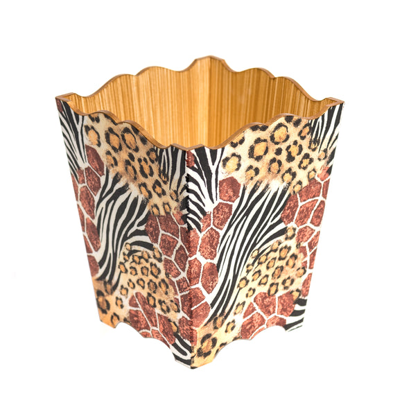 Animal Skin Design Waste Paper Bin - Handmade