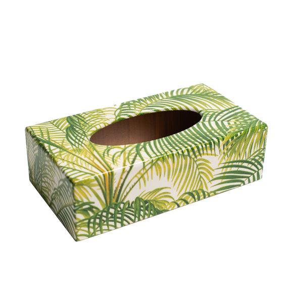 Palm Green Wooden Tissue Box cover Rectangular
