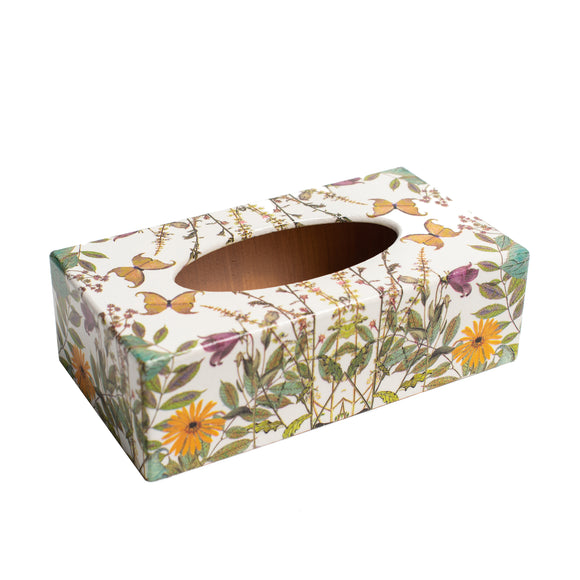 Meadow Flowers wooden tissue box cover rectangular