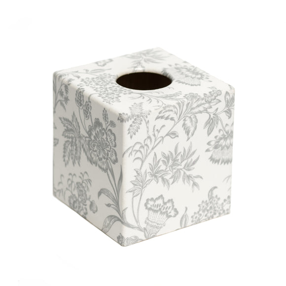 Silver Foliage Tissue Box Cover - Handmade