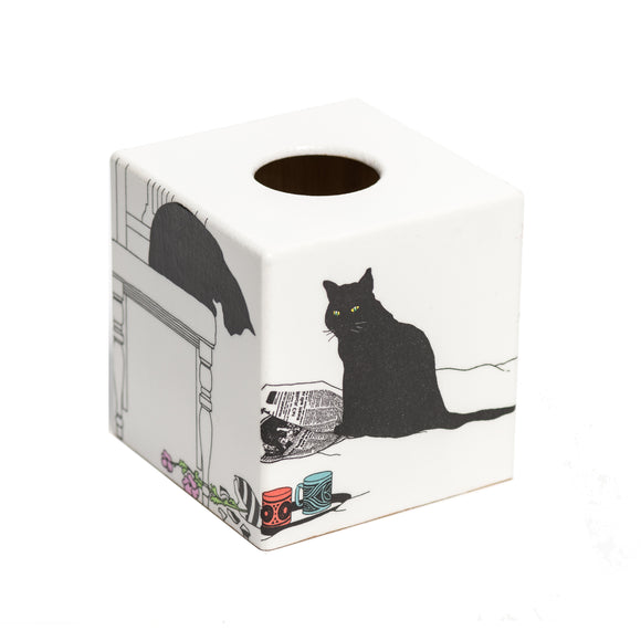 Black Cat Sooty Tissue Box Cover - Handmade