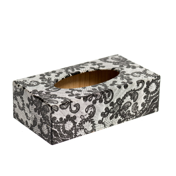 Black Lace Rectangle Tissue Box Cover - Handmade