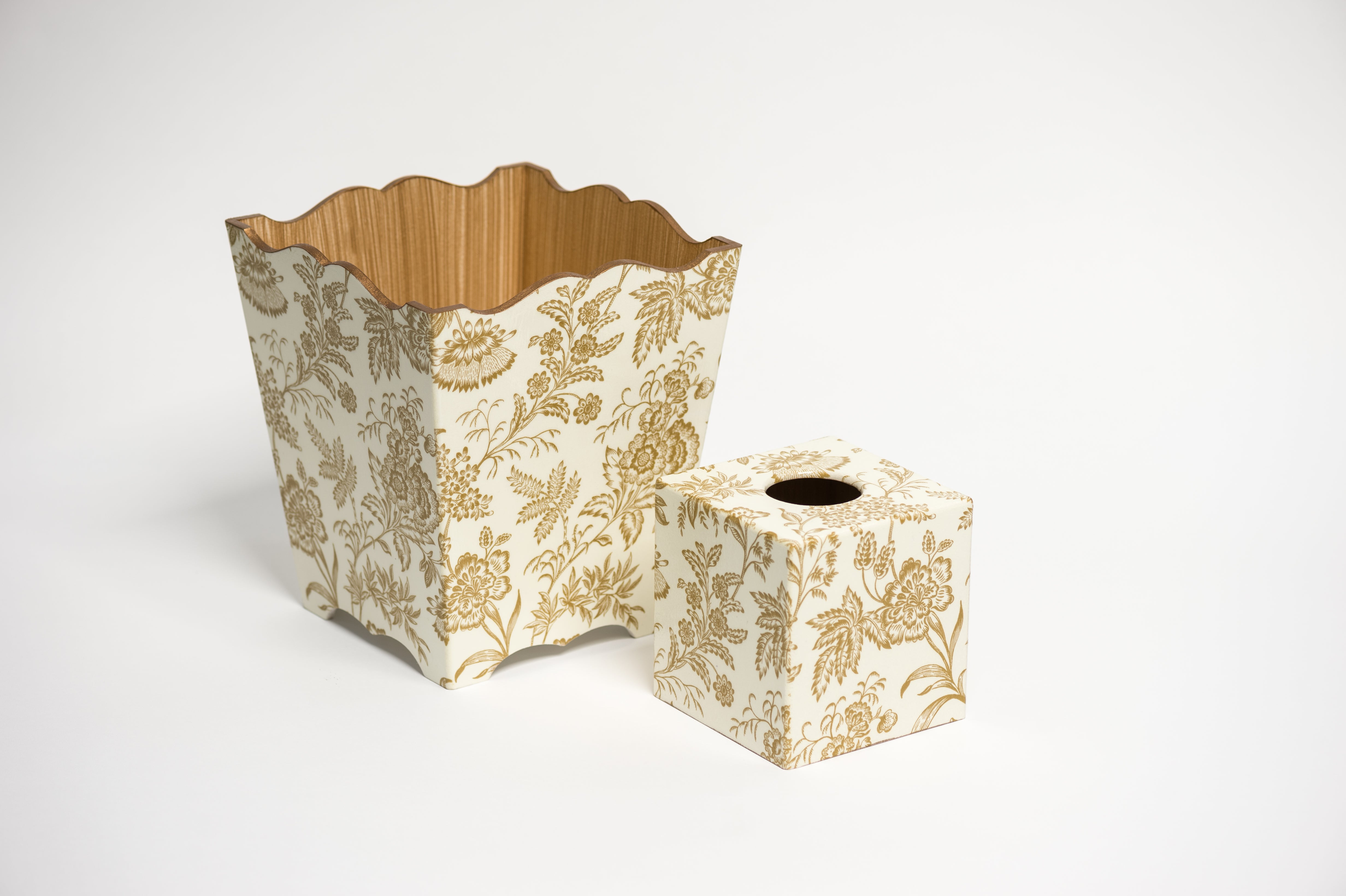 Gold Foliage Tissue Box Cover - Handmade