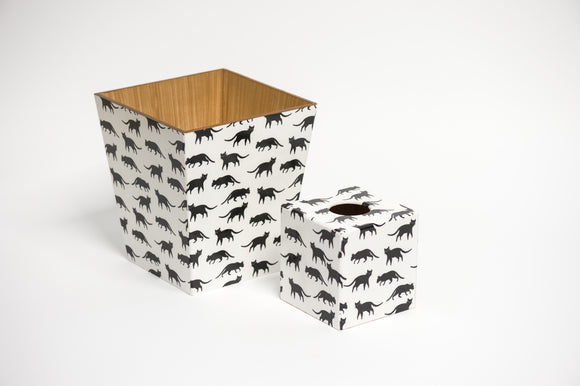 Black Cat Waste paper bin and Tissue Box Cover matching set