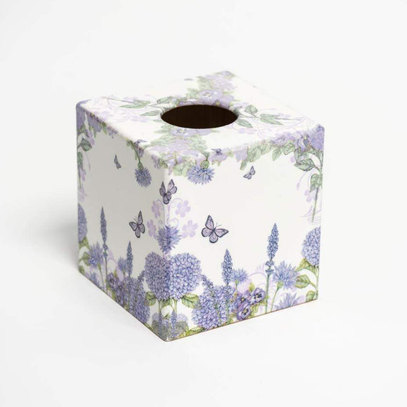 Purple Wildflower Tissue Box Cover - Handmade