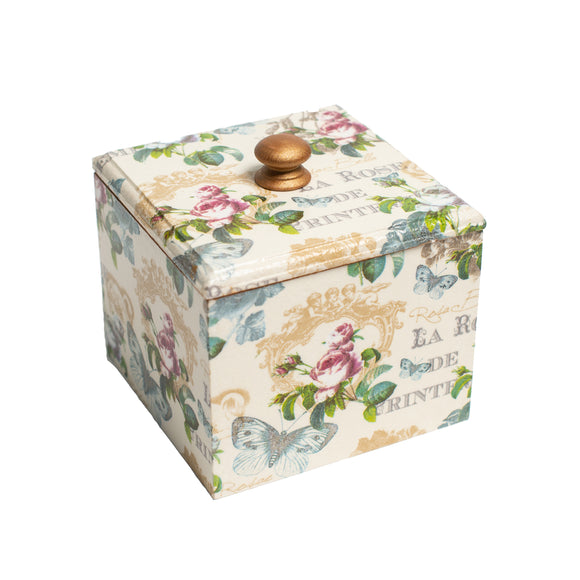 Vintage Rose wooden Trinket Box