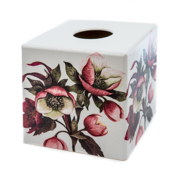 Garden Red Helleborus Tissue box cover