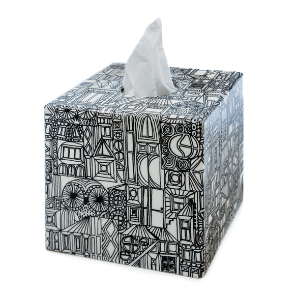 Black Abstract Tissue box cover