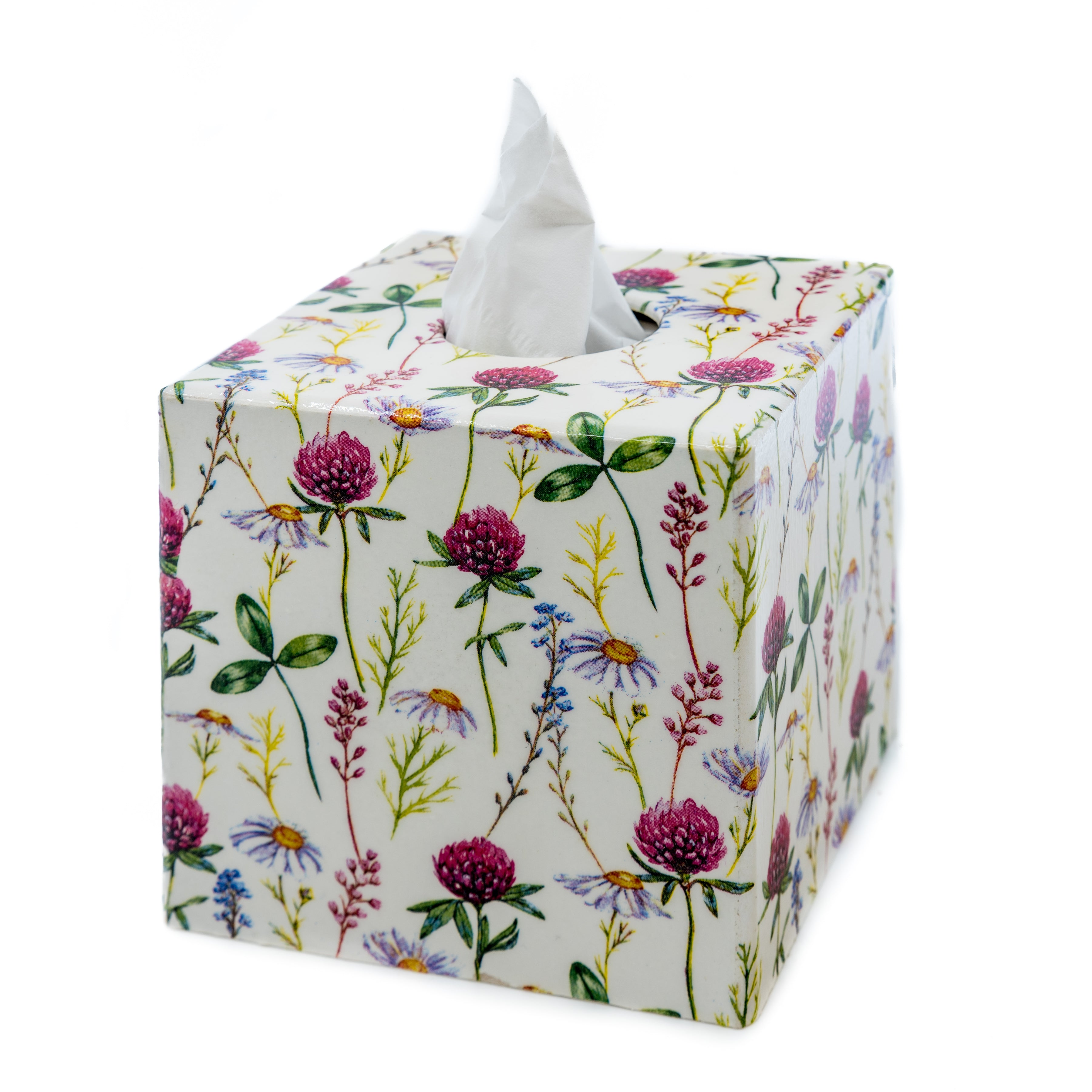 Pink English Clover Tissue Box Cover