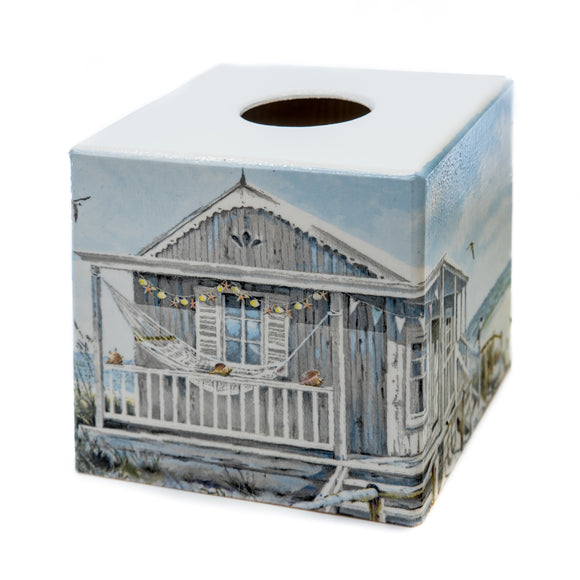 Grey Beach hut tissue box cover