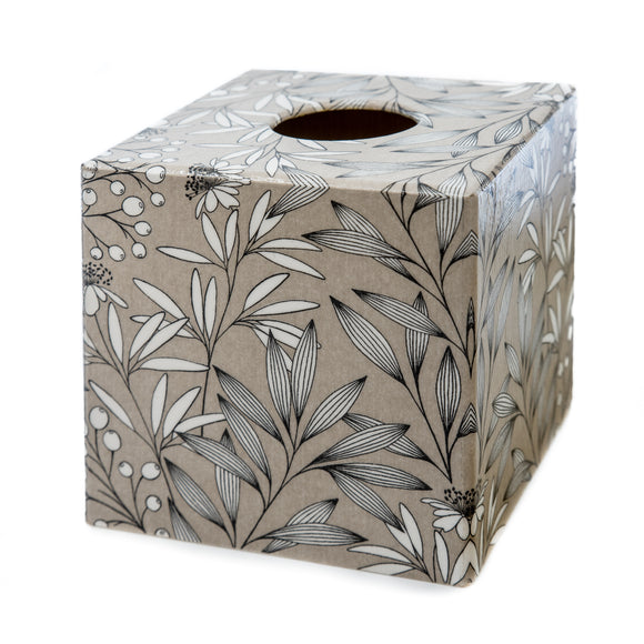 Taupe Leaves Tissue box cover