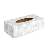 White Ginko rectangular tissue box cover