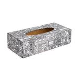 Black Abstract rectangular wooden tissue box cover