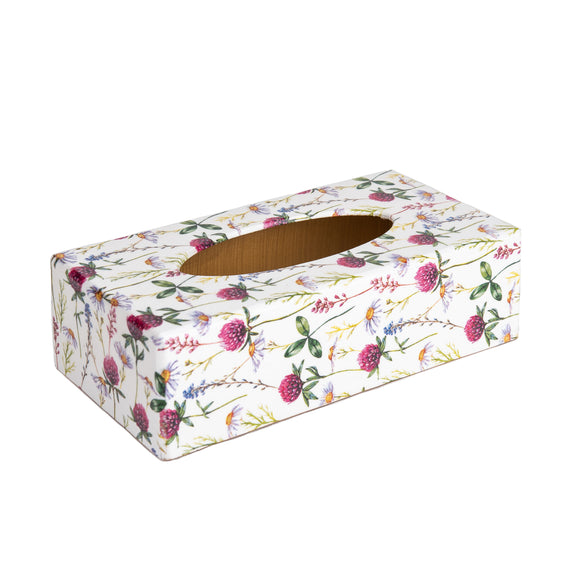 Pink Clover wooden rectangular tissue box cover