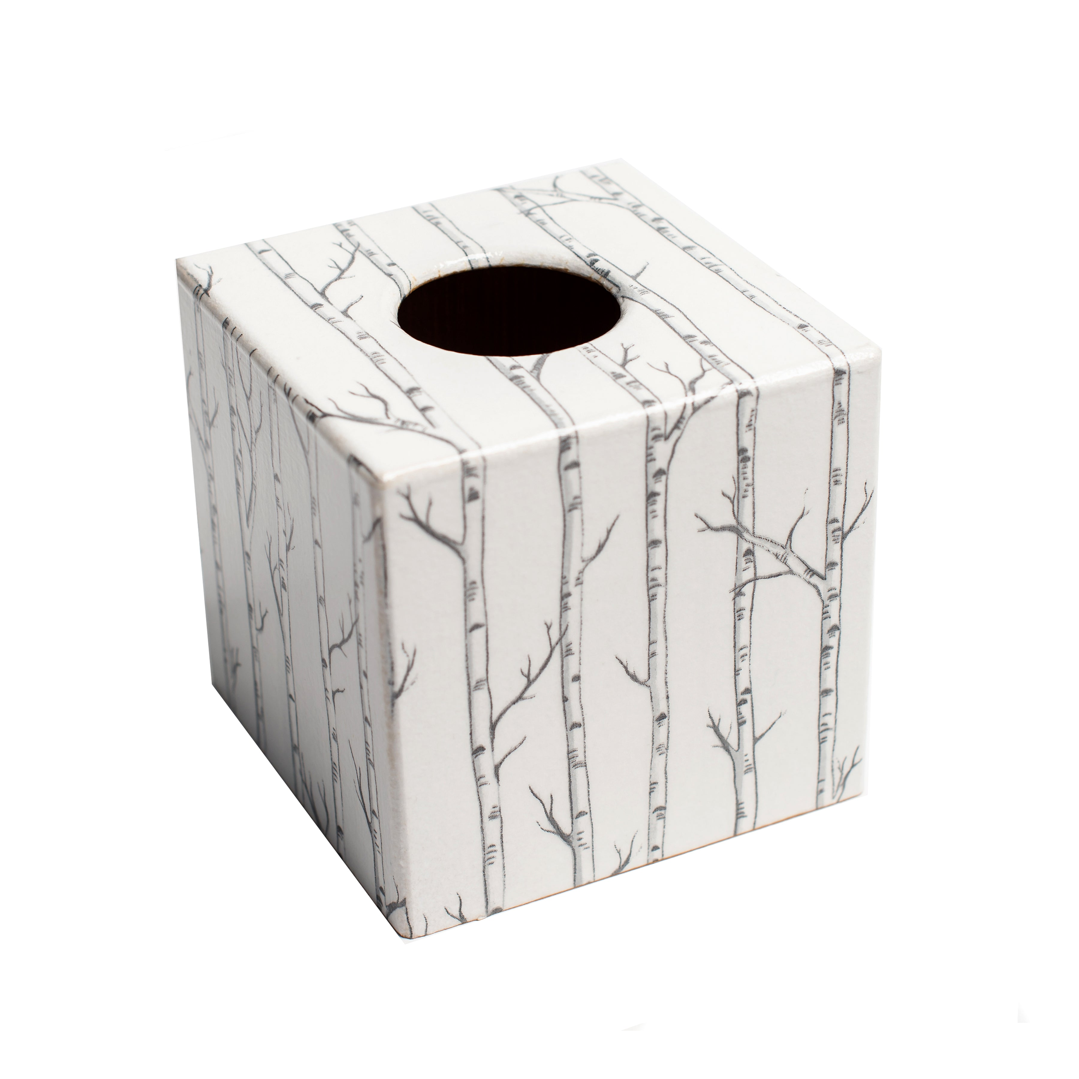 Silver Trees Tissue Box Cover - Handmade