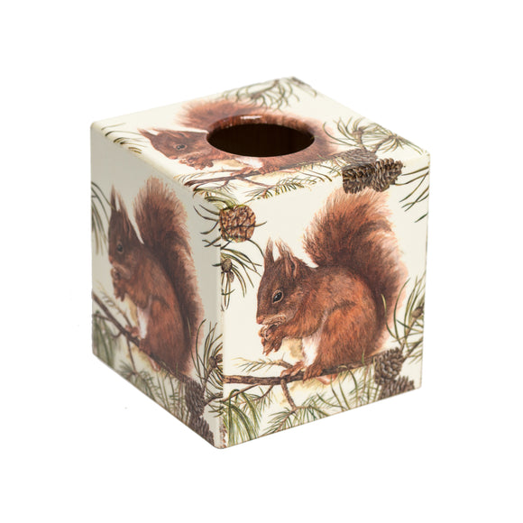 Red Squirrel wooden Tissue Box Cover
