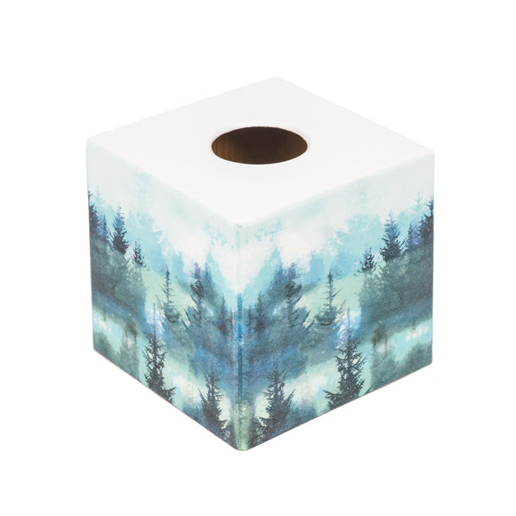 Aqua Trees Tissue Box Cover