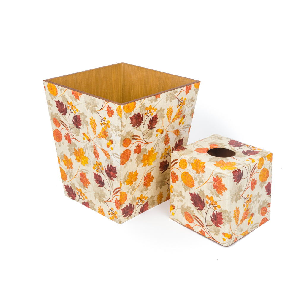 Autumn Tissue Box Cover & Bin Set