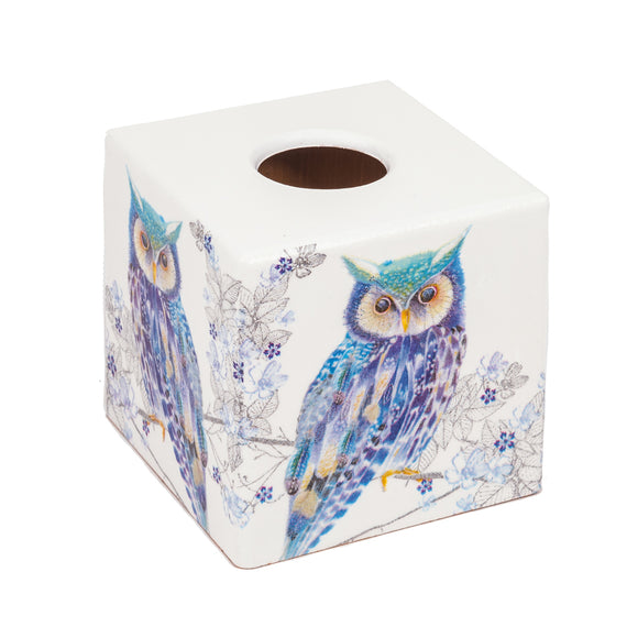 Blue Owl Tissue Box Cover - Handmade | Crackpots