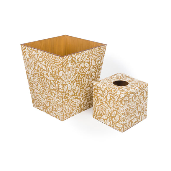 Acorn Gold Waste Bin & Tissue Box Cover Set | Crackpots
