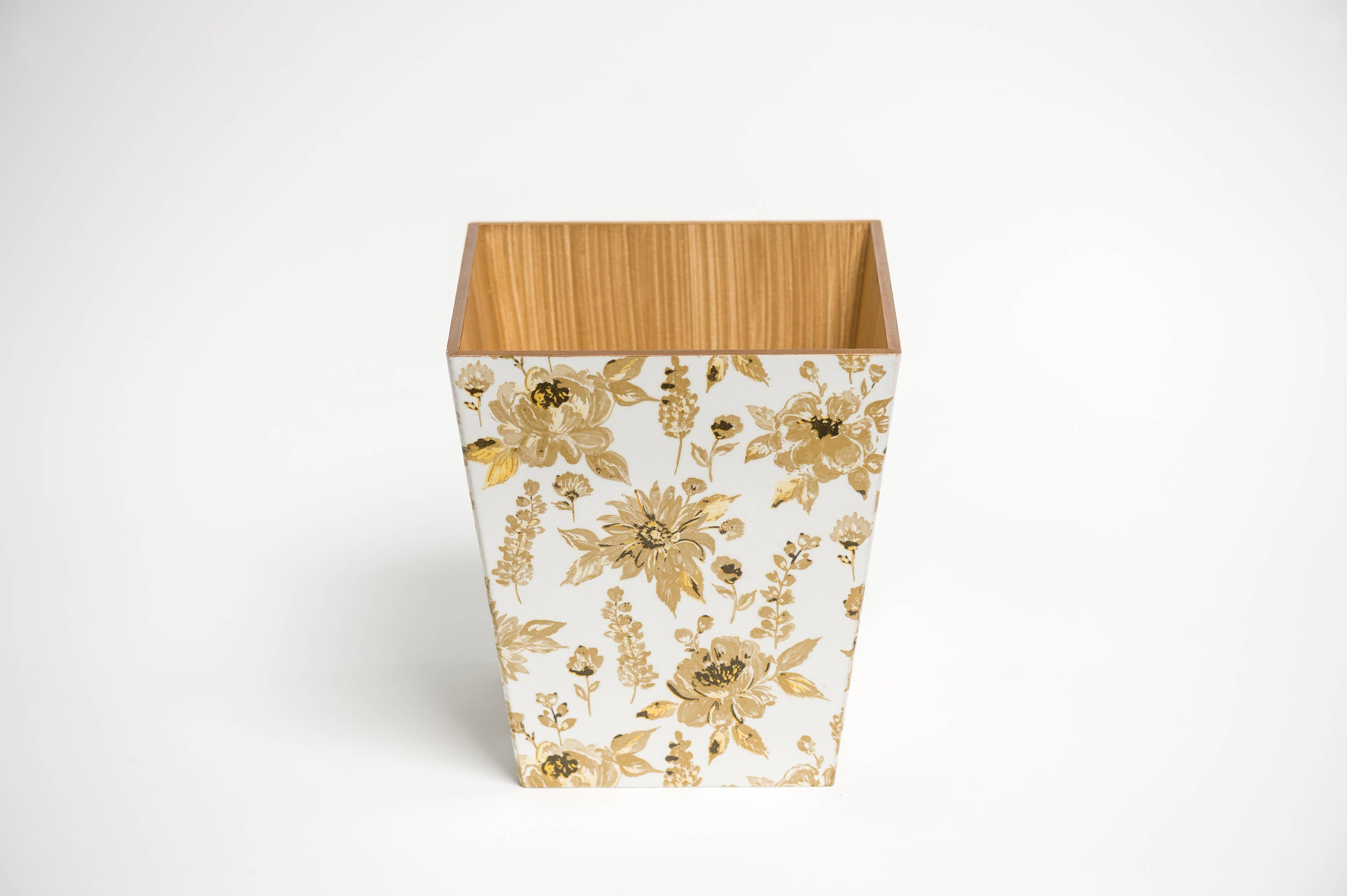 Gold Flower Waste Paper Bin