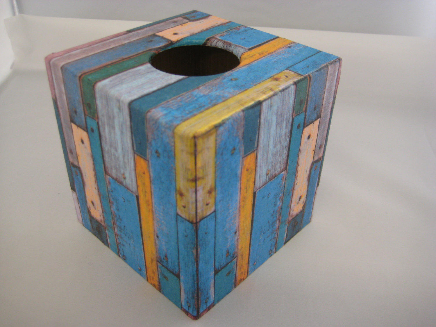 Vintage Wood Tissue Box Cover - Handmade
