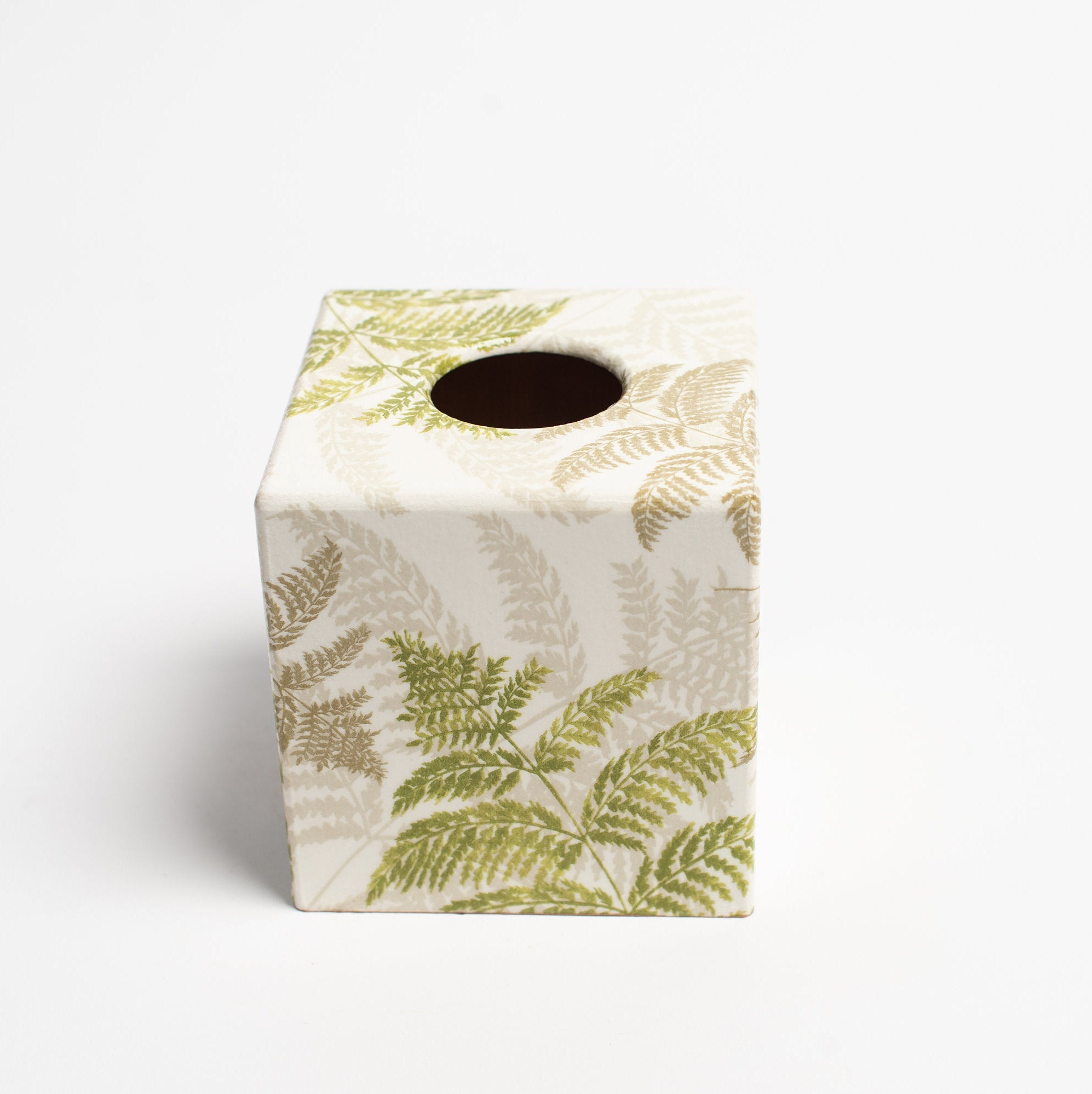 Green Fern Tissue Box Cover - Handmade