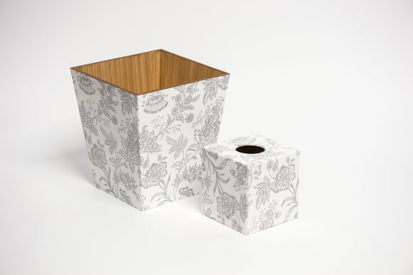 Silver Foliage Waste Paper Bin & Tissue Box Cover Set | Crackpots