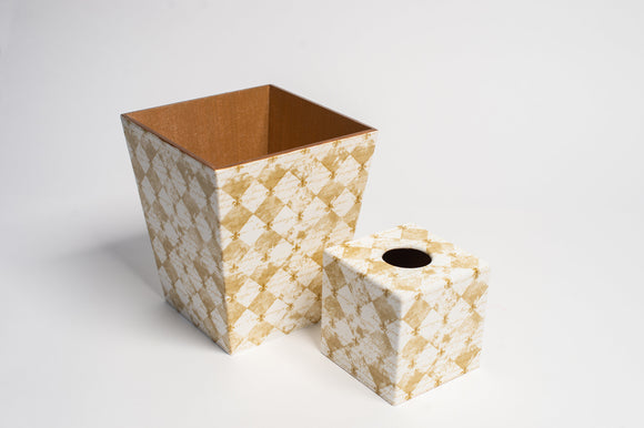 Fleur De Lyes Tissue Box Cover & Waste Paper Bin Set | Crackpots